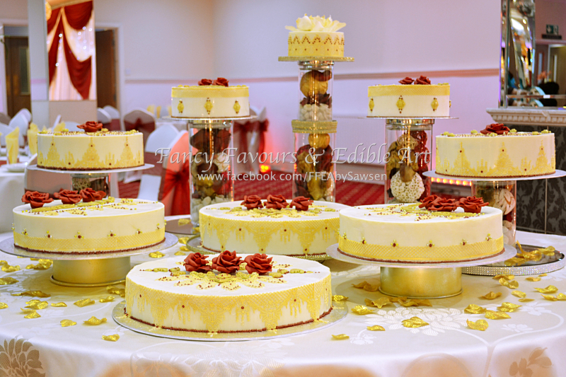Asian-indian-red-gold-ivory-chocolate-wedding-cake-display-table ...