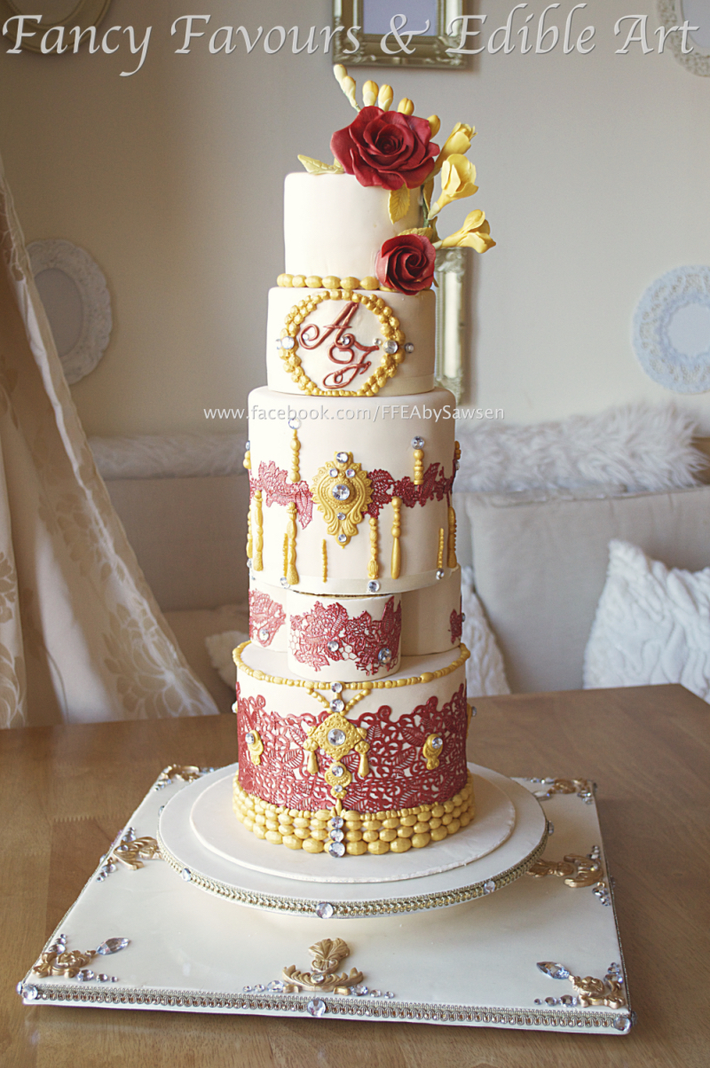 Asian Indian Tall Wedding Cake Lace Henna Red Gold Flowers Fancy