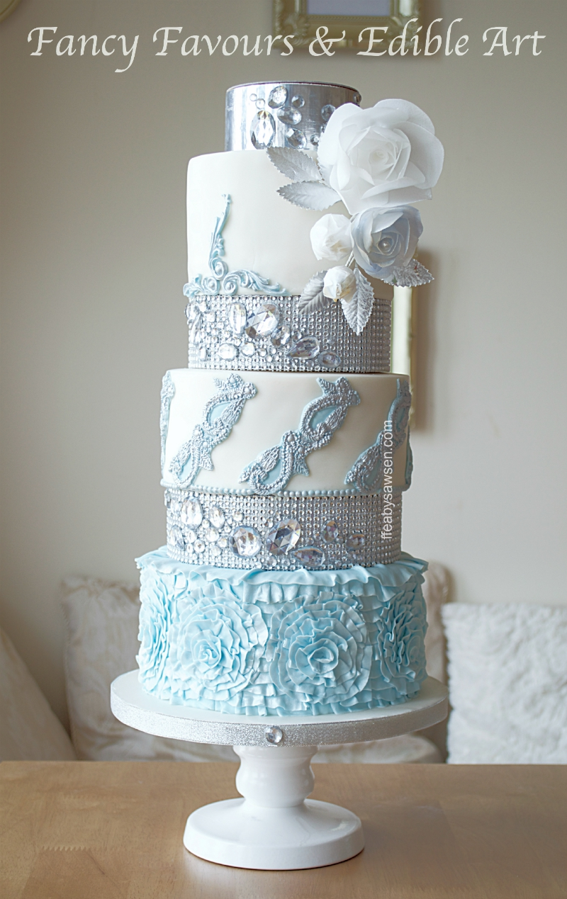 Blue Diamond Ruffle Tall Floral Wedding Cake