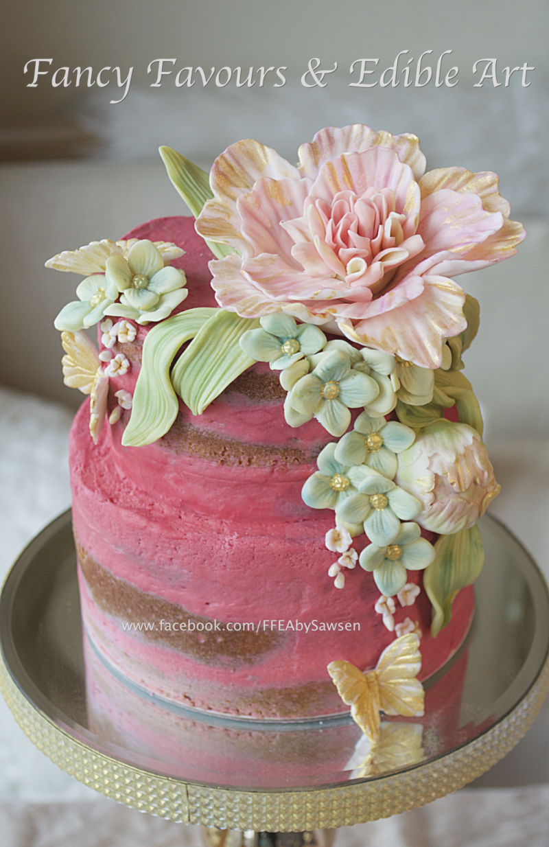 pink-semi-caked-floral-buttercream-cake-vintage | Fancy Favours ...