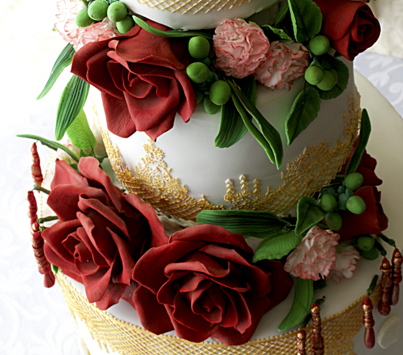 Tall White Red Rose Gold Asian Indian Elegant Floral Wedding Cake 3