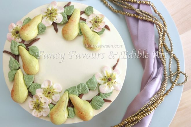 buttercream pear blossom wreath cake video tutorial - ffeabysawsen