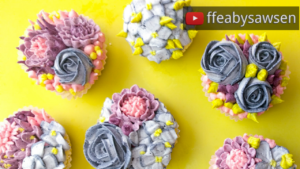 Beautiful Bouquets 1: Blueberry buttercream flower cupcakes