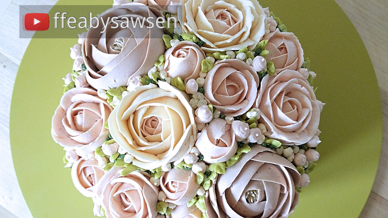 Bridal Domed Buttercream Flower Bouquet Cake Tutorial Ffeabysawsen