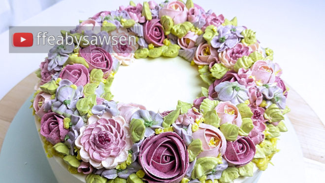 pink million flower buttercream ring wreath cake tutorial | ffeabysawsen