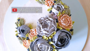 Beautiful Bouquets 3: Navy & peach ruffled buttercream peony wreath cake