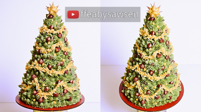 3d buttercream christmas tree cake video tutorial chocolate cake recipe | ffeabysawsen