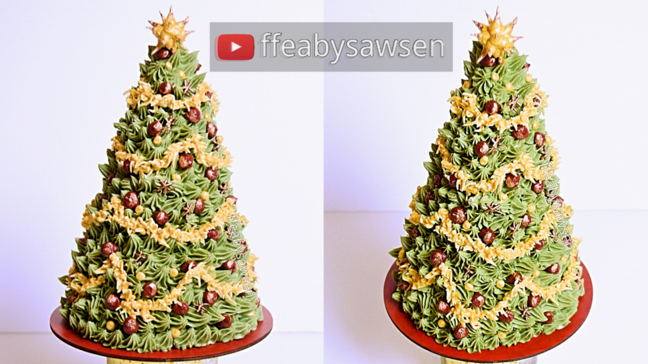 3D Buttercream Christmas Tree Cake tutorial & Chocolate Cake Recipe