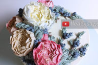 Buttercream peony & Juniper branch wreath cake video tutorial | ffeabysawsen