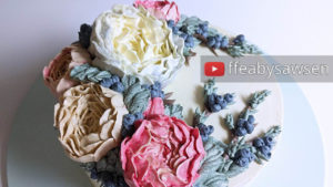 Korean style buttercream double peony and Juniper berry wreath cake tutorial