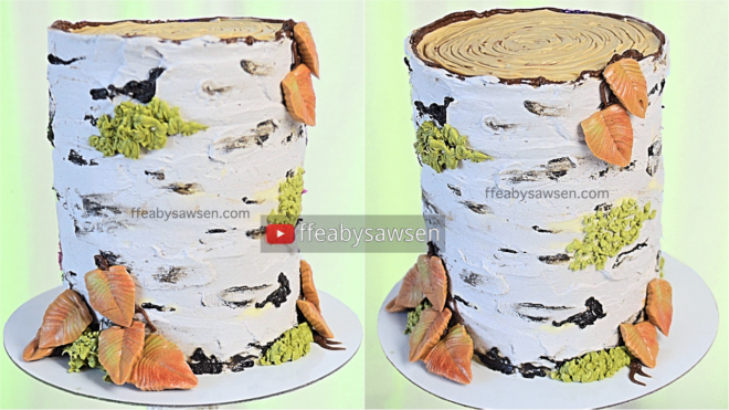 buttercream birch tree tutorial - ffeabysawsen