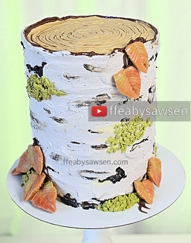 birch tree stump cake tutorial - buttercream cake decorating - ffeabysawsen