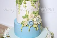 Blue peony buttercream wedding cake tutorial & feature in American Cake Decorating Magazine April 2017