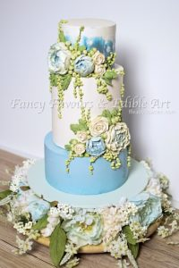 Blue Buttercream Peony Wedding Cake tutorial for American Cake Decorating Magazine