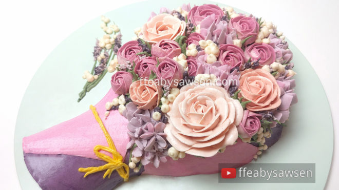 3D buttercream flower bouquet cake - Mother's day cake - free online video cake decorating tutorial - ffeabysawsen.com