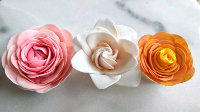3 different easy sugar flowers using the smaller easiest rose cutter easy sugar camellia gardenia miniature roses with the smaller easiest rose cutter ever mightylinksfo