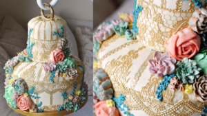 Vintage Terrarium Birdcage Cake with Buttercream Succulents – Tutorial