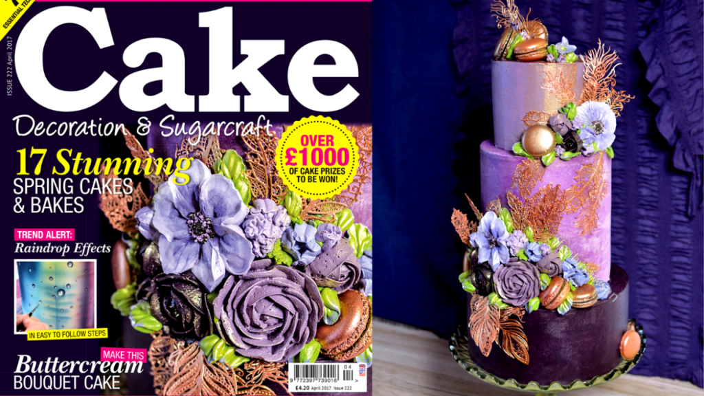 Lavender & Copper Buttercream Flower Bouquet Cake on the cover of Cake Decoration & Sugarcraft Magazine
