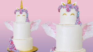 3 Tiered Buttercream Unicorn Cake with Wafer Paper Wings – Tutorial