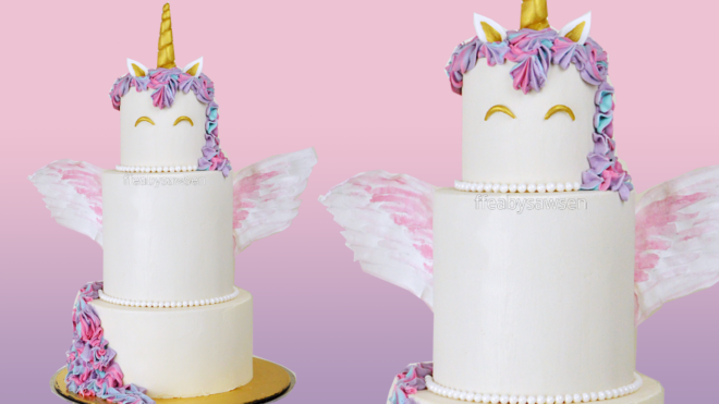 3 tiered unicorn cake tutorial with wafer paper wings - youtube - ffeabysawsen.com