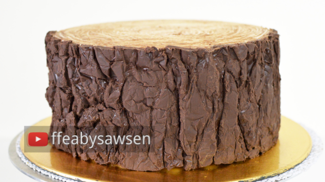 Chocolate Tree Stump Cake Tutorial - Chocolate Tree Bark Effect with NO MOULDS, NO FONDANT, NO TOOLS - online class from ffeabysawsen.com